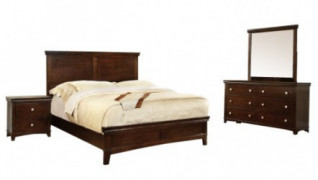 Furniture of America Pasha 4-Piece Queen Platform Bedroom Set with Nightstand, Dresser and Mirror, Brown Cherry Finish