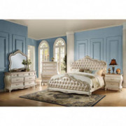 Acme Furniture Chantelle 4-Piece Bedroom Set, Rose Gold PU Leather with Pearl White Finish California King