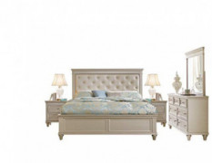 Cairo Modern Glam 5PC Bedroom Set Cal King Bed, Dresser, Mirror, 2 Nightstand in Pearl