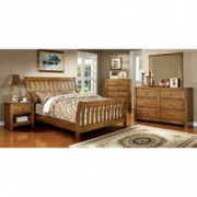Conrad Country Style Rustic Oak Finish Queen Size 6-Piece Bedroom Set