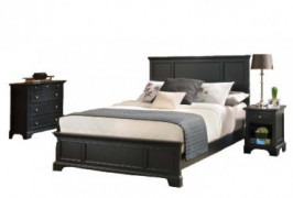 Bedford Black King Bed with Night Stand and Chest by Home Styles
