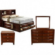 Galaxy Home Emily 4 Piece Wood Queen Storage Platform Bedroom Set in Cherry