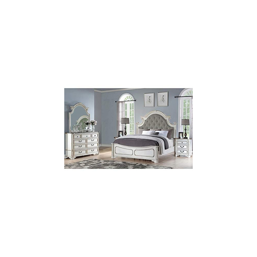 Best Master Furniture 5 Pieces Antique White Panel Bedroom Set Queen