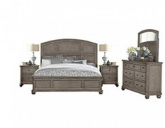 Lawrence 5PC Bedroom Set E King Bed, Dresser, Mirror, 2 Nightstand in Rustic Natural Wood