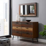 Modway Arwen Rustic Modern Wood Dresser and Mirror 2-Piece Bedroom Set