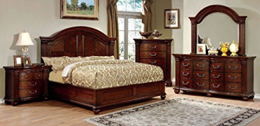 Royal Traditional Formal Look Cherry Finish Solid Wood Wooden HB Eastern King Size Bed w Matching Dresser Mirror Nightstand G