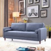 Casa AndreaMilano Mid-Century Modern Linen Fabric Living Room Sofa  Dark Blue
