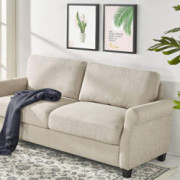 Zinus Josh Traditional Upholstered 77.5 Inch Sofa/Living Room Couch, Beige Weave