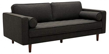 "Amazon Brand – Rivet Aiden Mid-Century Sofa with Tapered Wood Legs, 74""W, Dark Grey"