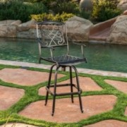 Paris Copper Finish Cast Aluminum Swivel Single Bar Stool