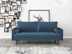 """Container Furniture Direct S5456 Mid Century Modern Velvet Upholstered Tufted Living Room Sofa, 69.68"""", Prussian Blue"""