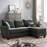 Nolany Reversible Sectional Sofa Couch for Small Apartment L Shape Sofa Couch 3-seat Sectional Corner Couch  Green Grey