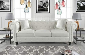 Divano Roma Furniture Classic Living Room Bonded Leather Scroll Arm Chesterfield Sofa  White , Large