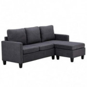 FCH L-Shape Convertible Sectional Sofa Couch Modern Upholstered Living Room Sectional Couch with Reversible Chaise  Dark Grey
