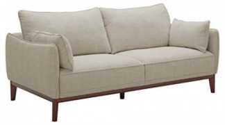 """Amazon Brand – Stone & Beam Hillman Mid-Century Sofa with Tapered Legs and Removable Cushions, 78""""W, Ivory"""