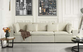 """Large Classic Living Room Linen Fabric Sofa, 111.8"""" W inches  Ivory"""