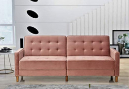 """US Pride Furniture Stetson Velvet 80"""" Square Arms Sofa Bed Sofabed, Rose"""
