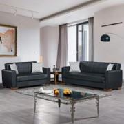 Ottomanson BAR-SB-BLK Sofabed, Sofa, Black PU