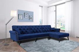 Navy Blue Sectional Sofa Sleeper Bed,JULYFOX 900 LB Heavy Duty 115 inch Velvet Sofa Futon W/Chaise Recliner Back Modern Day B