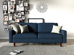 """Container Furniture Direct Squared Mid Century Fabric Upholstered Living Room Sofa, 63"""", Dark Blue"""