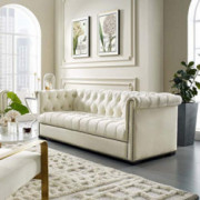 Modway Heritage Tufted Performance Velvet Upholstered Chesterfield Sofa with Nailhead Trim in Ivory