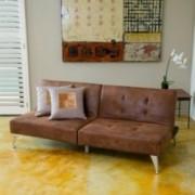 Lenny 2pc Brown Microfiber Clik-Clak Sofa Couch