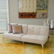 Lenny 2pc Beige Fabric Clik-Clak Sofa Couch