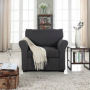 Divano Roma Furniture Classic and Traditional Linen Fabric Accent Chair-Living Room Armchair  Dark Grey