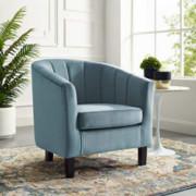 Modway Prospect Channel Tufted Upholstered Velvet Armchair, Light Blue