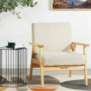 EPHEX Accent Chair Mid Century Modern Chair, Wooden Arm Chair Fabric Upholstered Lounge Chair, Apartment Living Room Chairs,