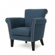 Christopher Knight Home Brice Vintage Scroll Arm Studded Fabric Club Chair, Navy Blue / Dark Brown
