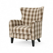 Christopher Knight Home Oliver Farmhouse Armchair, Brown Checkerboard, Dark Brown