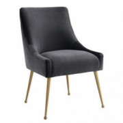 Tov Furniture The Beatrix Collection Modern Style Living Room Velvet Upholstered Side Chair, Grey