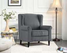 Divano Roma Furniture Classic Living Room Linen Fabric Armchair, Chair with Shelter Frame  Light Grey