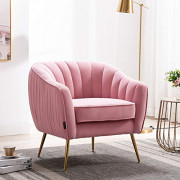 Altrobene Velvet Accent Chair, Modern Living Room Armchair with Gold Finished Legs, Pink