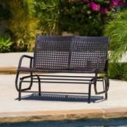 Burbank Outdoor Brown Wicker Glider Bench