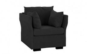 Modern Living Room Linen Fabric Armchair/Accent Chair  Dark Grey