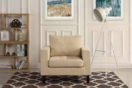 Divano Roma Modern Tufted Linen Fabric Armchair, Living Room Chair  Beige