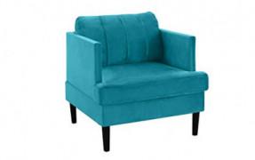 Mid Century Modern Velvet Armchair, Living Room Accent Chair  Blue