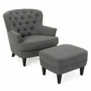 Christopher Knight Home Tafton Fabric Club Chair and Ottoman Set, 2-Pcs Set, Grey
