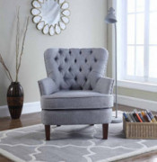 Bentley Button Tufted Accent Chair with Nail Head Trim, Gray