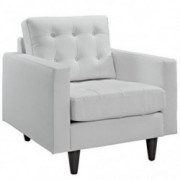 Modway Empress Mid-Century Modern Upholstered Leather Armchair in White