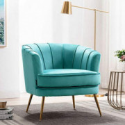 Altrobene Accent Chair, Modern Club Chair with Golden Finished Metal Legs, Velvet Upholstered, Curved Tufted Armchair, for Li