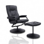 HomCom Ergonomic Faux Leather Lounge Armchair Recliner and Ottoman Set - Black