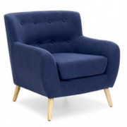 Best Choice Products Mid-Century Modern Linen Upholstered Button Tufted Accent Chair - Dark Blue