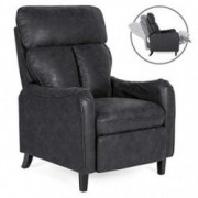 Best Choice Products Upholstered Faux Leather English Roll Arm Chair Recliner w/ 160-Degree Reclining, Leg Rest - Black