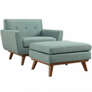 Modway Engage Modern Upholstered Fabric Accent Arm Lounge Chair and Ottoman in Laguna