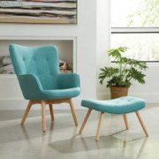 OFM 161 Collection Mid Century Modern Tufted Fabric Lounge Chair with Ottoman, Solid Honey Beechwood Legs, in Teal  161-FLC1-