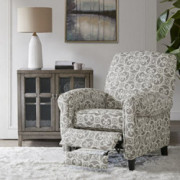 Madison Park Kirby Recliner Chair - Solid Wood, Plywood, Rolled Back Button Tufted Accent Armchair Modern Classic Style Famil