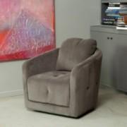 Bernhoft Swivel Grey Microfiber Fabric Armchair